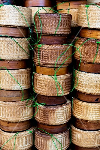 Bamboo basket with sticky rice (Udon Thani, North-East Thailand)