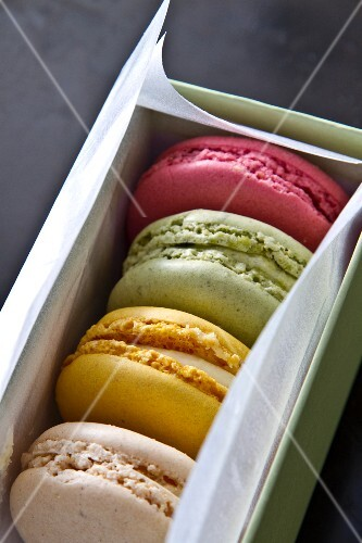 Colourful macaroons in a gift box