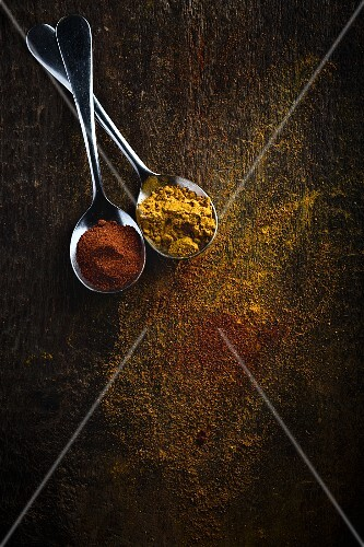 Turmeric and chilli powder on spoons