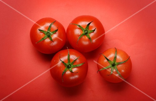 Four tomatoes on a red surface