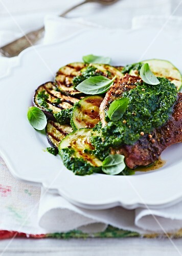 Grilled pork, courgette and aubergine with salsa verde