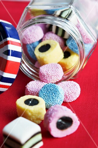 Colourful liquorice from England in a glass jar