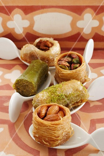 Baklava and Turkish nut cakes on canapé spoons