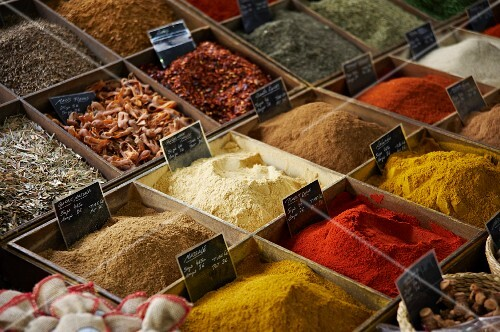 A spice stand at a market in Antibes, France