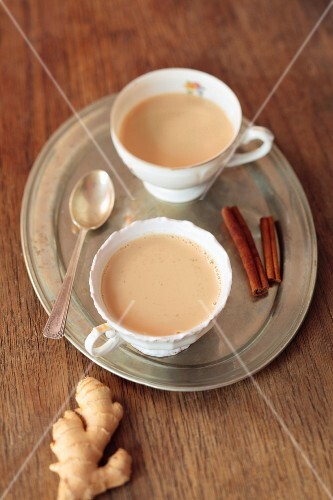 Spiced tea with ginger and cinnamon
