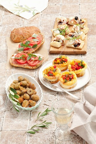 Various appetisers with olives