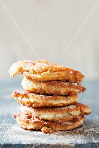 Fried apple rings with cinnamon sugar