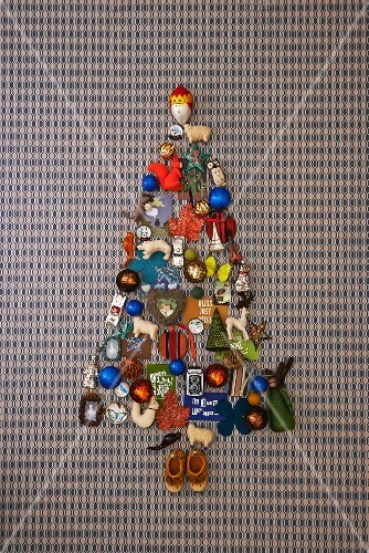A Christmas tree made from baubles, toys and Christmas decorations