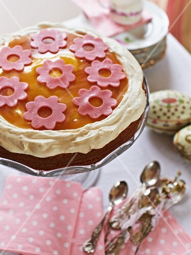 An Easter cake decorated with marzipan flowers