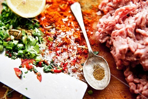 Ingredients for lamb meatballs with Moroccan spices
