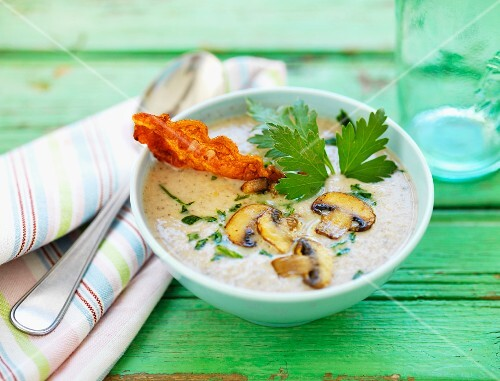 Mushroom soup with bacon