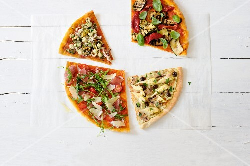 Various different slices of pizza