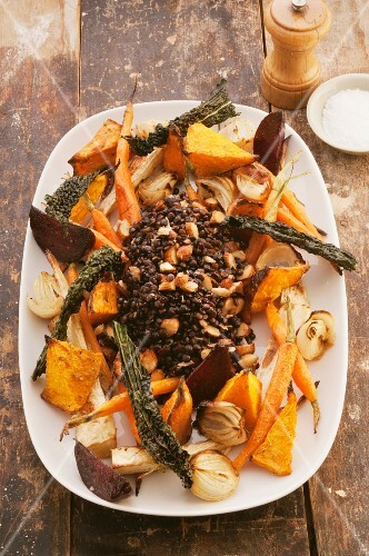 Roasted vegetables with spicy lentils