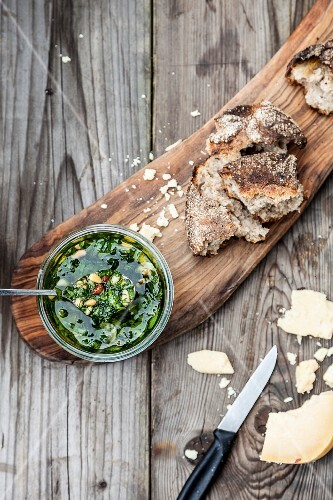 Pesto with pine nuts and rustic bread