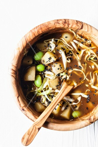 Miso soup with potatoes, white cabbage and soya beans