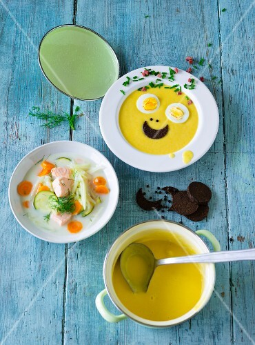ADHD food: root vegetable soup and vegetable soup with salmon