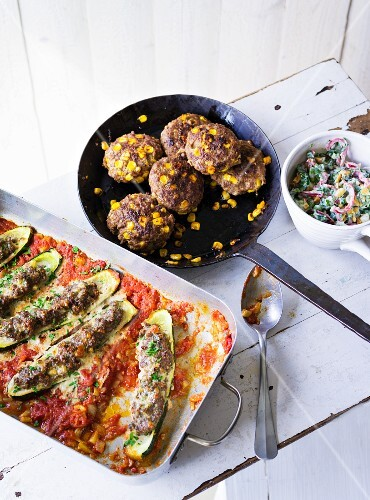 ADHD food: sweetcorn cakes and stuffed courgette halves