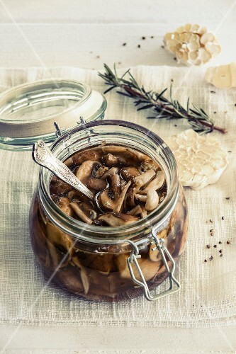 Wild mushrooms preserved with rosemary and garlic