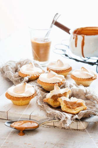 Caramel tartlets topped with meringue
