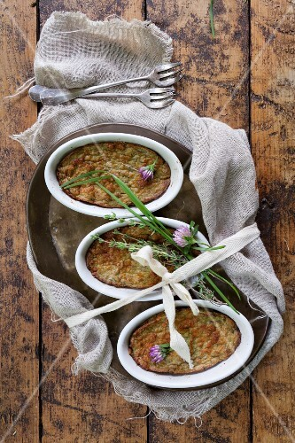 Vegan vegetable soufflés with chives and thyme