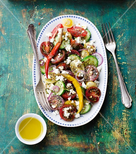 Greek salad with sheep's cheese and peppers