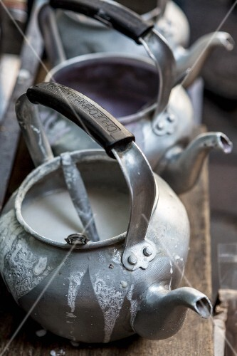 Coconut milk in teapots