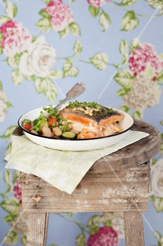 Stuffed trout with courgette and a butter bean salad