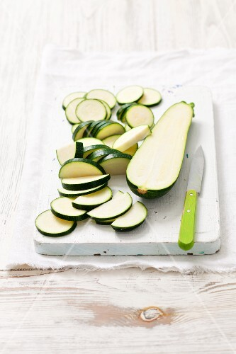 Courgette, halved and sliced