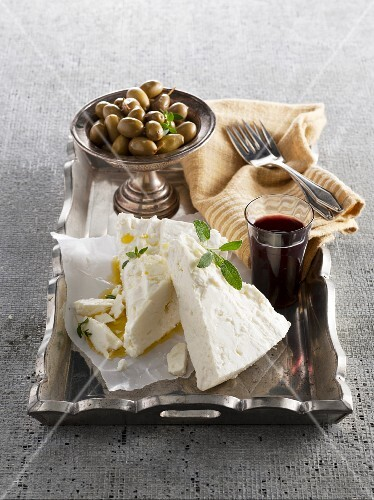 Sheep's cheese, olive oil, olives and red wine from Greece
