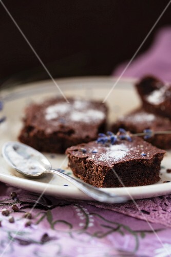 Brownies with lavender flowers and lavender sugar