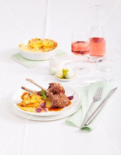 Marinated lamb chops with potato gratin