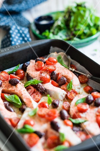 Mediterranean salmon steaks