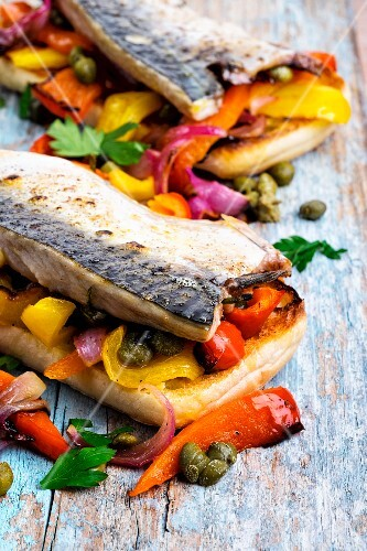 Grilled mackerel with peppers and capers on toast