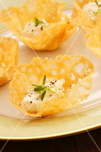 Cream cheese dumplings in Parmesan bowls