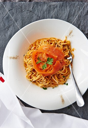 Tagliolini with smoked salmon