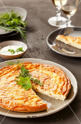 Cheese quiche with garden herbs