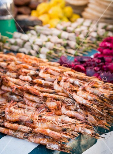 Prawns and other seafood at a market on Zanzibar