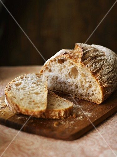 Rustic white bread, sliced