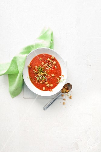 Gazpacho with croutons (seen from above)