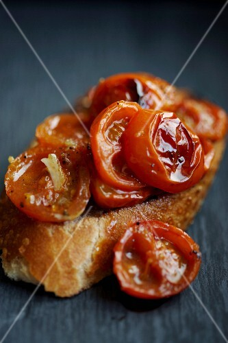 Bruschetta topped with cherry tomatoes