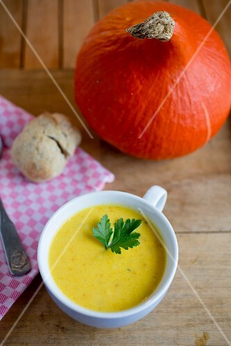Cream of pumpkin and ginger soup garnished with parsley