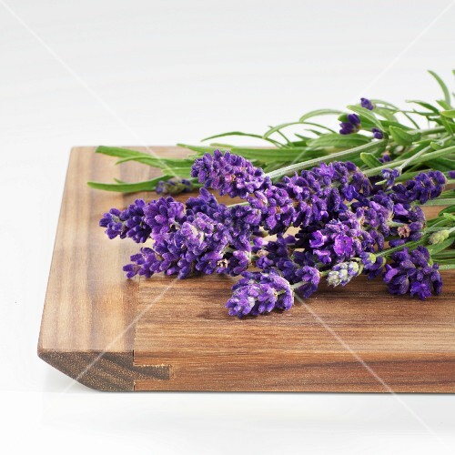 Fresh lavender on a wooden board