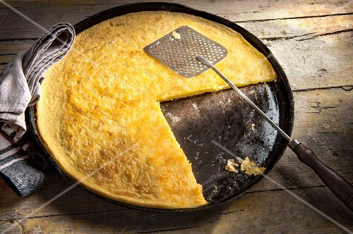 Farinata (chickpea flour pancake, olive oil, salt and water, Italy)