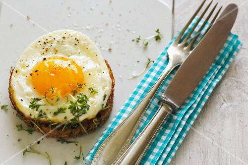 A fried egg on toast with cress