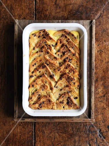 Bread and butter pudding in a baking dish (England)
