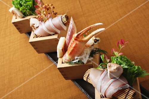 Mussel sashimi with mushrooms (Japan)