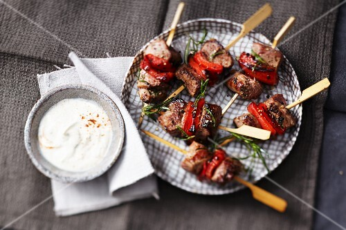 Spicy lamb skewers