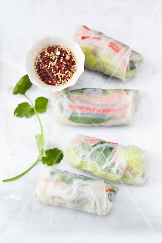 Rice paper rolls filled with duck breast and vegetables