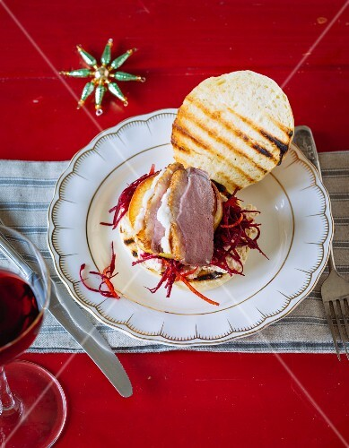 A Christmas burger with duck breast and beetroot