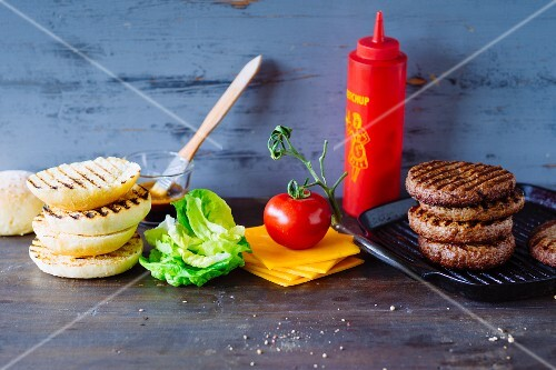 Ingredients for hamburgers